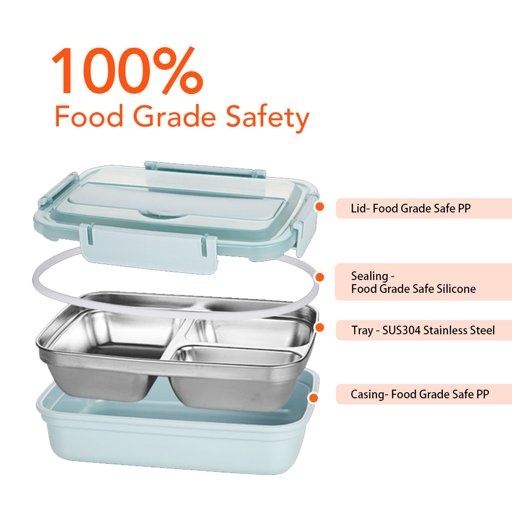 HYTX 4 Compartment Stainless Steel Bento Lunch Container with Spoon and Chopsticks (Blue)