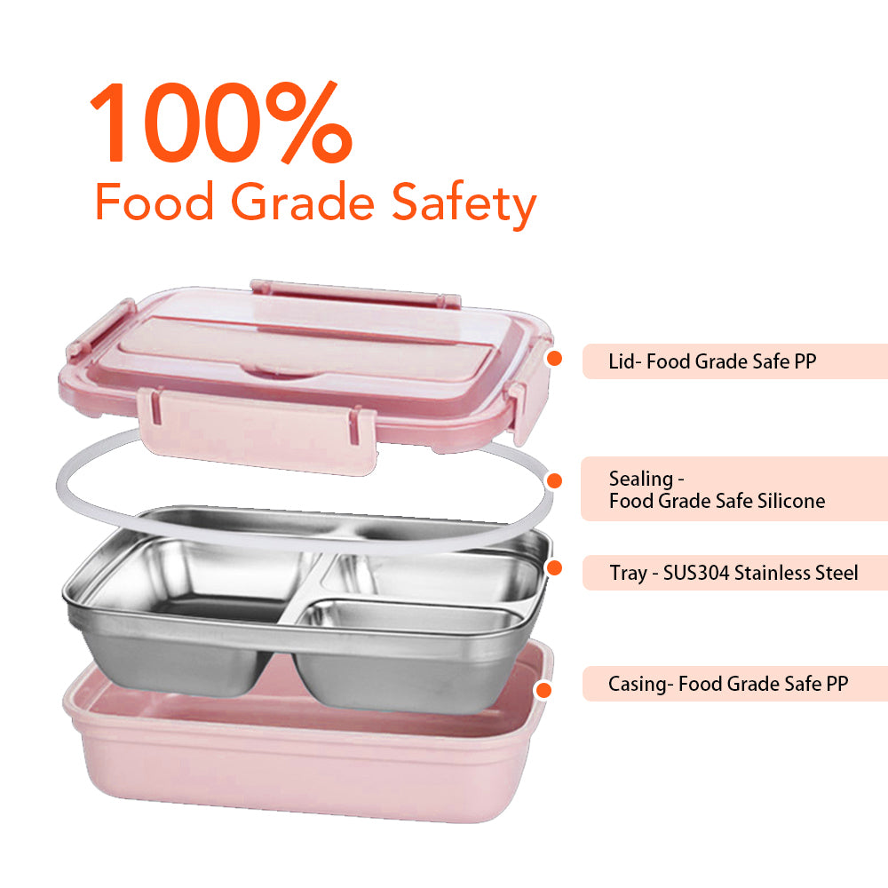 HYTX 4 Compartment Stainless Steel Bento Lunch Container with Spoon and Chopsticks (Pi k)