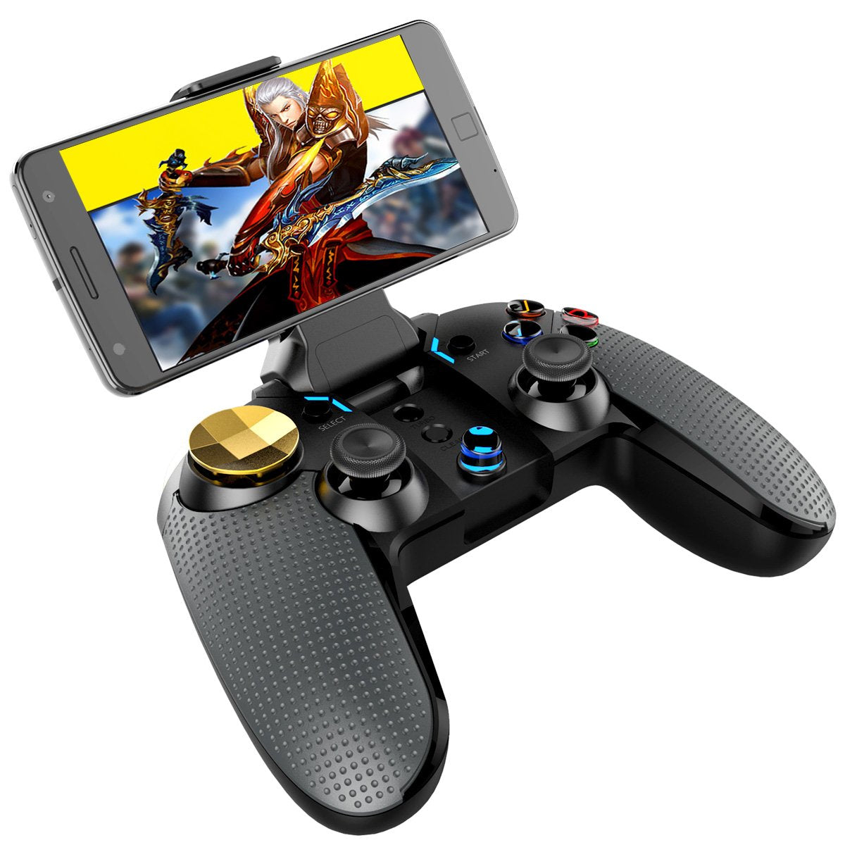 IPEGA Wireless Mobile Game Controller - Compatible with iOS/iPhone/iPad, Android Phones/Tablets, Windows 7/8/10 PC, Built-in Vibration Feedback and Mobile Phone Holder (Black)