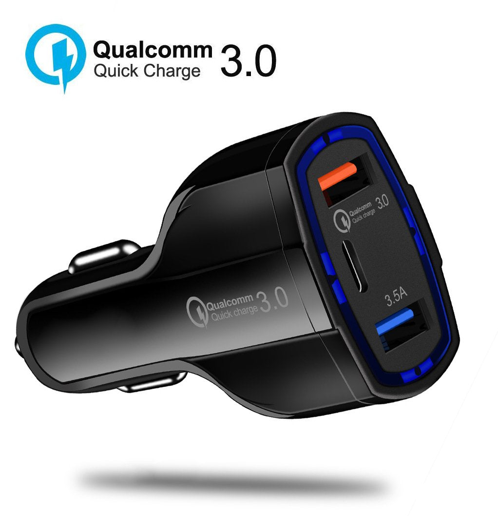 HYTX 35W 3-Port Quick Charge 3.0/USB C Multi USB Car Charger - Qualcomm Certified QC 3.0 Up to 12V 1.8A, Compatible with Samsung Galaxy S8 / S8+ / Note8, LG,  iPhone 11/11 Pro/Max and More (Black)
