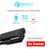 HYTX 36W 4-Port Quick Charge 3.0 Car Charger for Front and Backseat [6 Feet] -  Android Samsung Note 8 / Galaxy S8 / S9 / S10 Plus, LG, HTC 10, Huawei, Google Pixel, and More (Black)