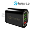 HYTX Quick Charge 3.0 3-Port USB Wall Charger - Compatible with Samsung Galaxy S8 / S8+ / Note8, LG G6 / V30, Huawei, iPhone 11/11 Pro/Max and More (Black)