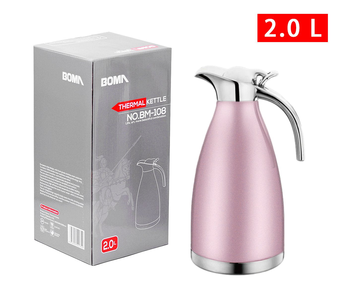 BOMA 68 Oz Stainless Steel Thermal Coffee Carafe/Double Walled Vacuum Insulated Thermos, 24 Hrs. Heat & Cold Retention (Pink)