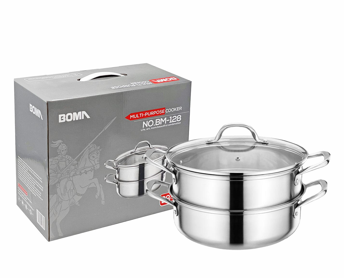 BOMA Stainless Steel 3-Piece 5.8-Quart 2-Tier Pasta/Steamer Set - Tempered Glass Lid, Dishwasher Safe