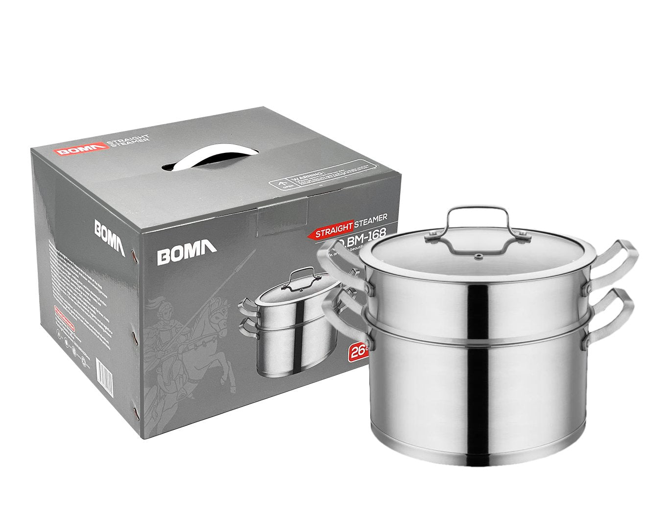 BOMA Stainless Steel 3-Piece 6-Quart 2-Tier Pasta/Steamer Set - Tempered Glass Lid, Dishwasher Safe, Double Handles