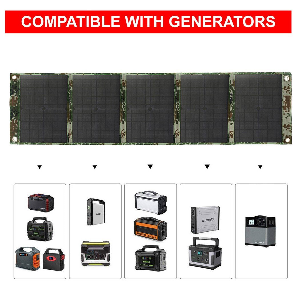 HYTX 300W Foldable Solar Panel Charger for Suaoki/Goal Zero Yeti/Paxcess/ROCKPALS Power Station Generators / Battery Pack and USB Charging Devices, Laptop, Tablet, GPS, Phones, iPad, with 2 USB Outlet