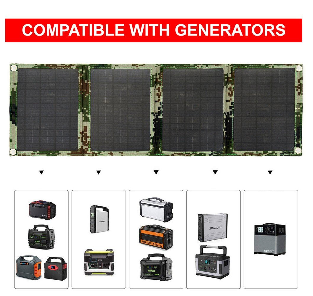 HYTX 40W Foldable Solar Panel Charger for Suaoki/Goal Zero Yeti/Paxcess/ROCKPALS Power Station Generators / Battery Pack and USB Charging Devices, Laptop, Tablet, GPS, Phones, iPad, with 2 USB Outlet