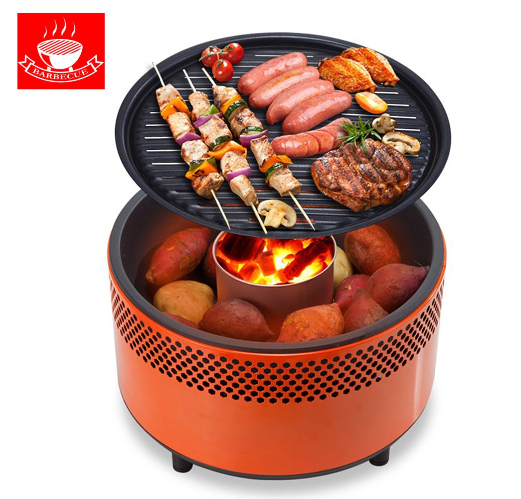 Portable Outdoor Smokeless Charcoal BBQ Grill with Non ? Stick Interchangeable Griddle Plate and Battery Powered Ventilation Fan ? For Outdoor Cooking While Camping, Tailgating or Picnicking