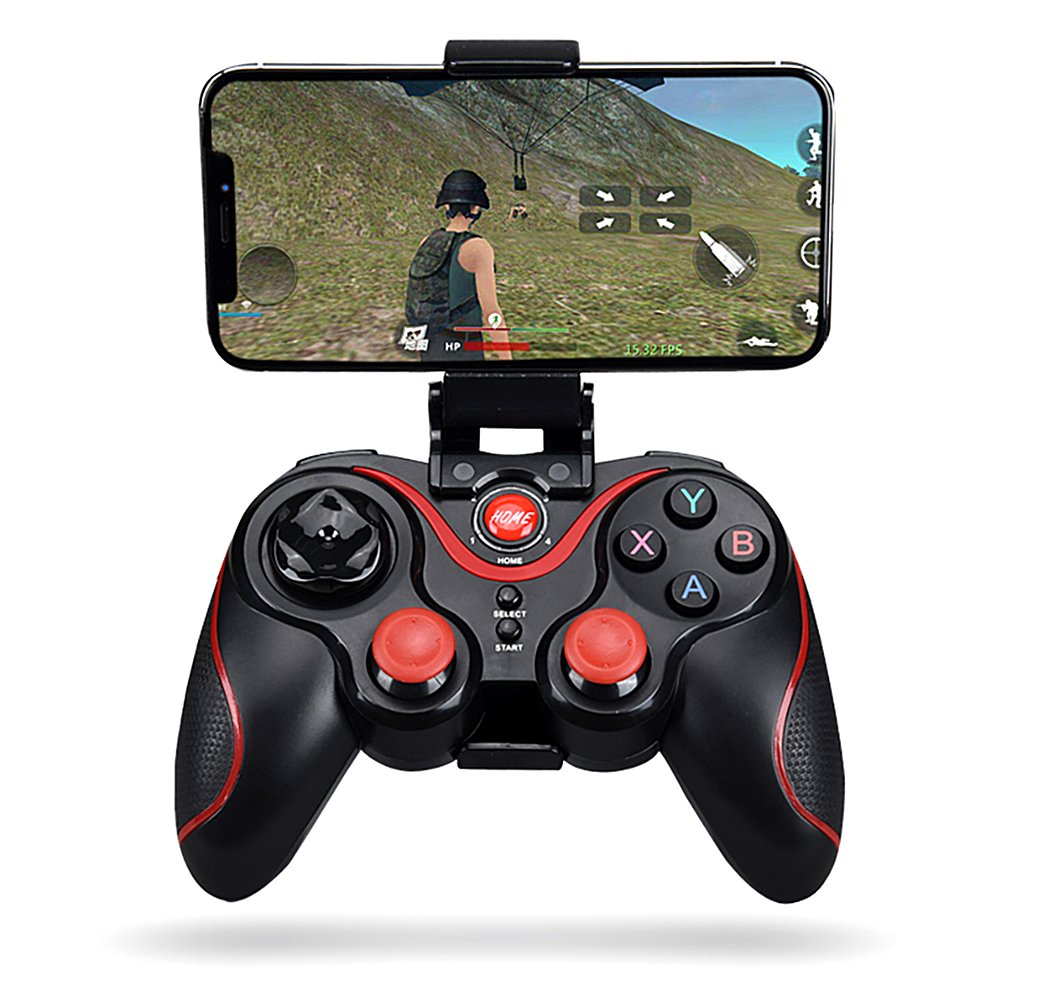 HYTX Wireless Portable Game Controller - Bluetooth Gamepad Remote for PC (Windows XP/7/8/8.1/10), PS3, Android, iOS, Vista, TV Box, Video, And VR Gaming Handle with Mobile Phone Holder (Black)