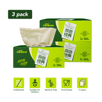 (3 Pack) Bamboo 3-ply Facial Tissues Paper - 360 Sheets/Box