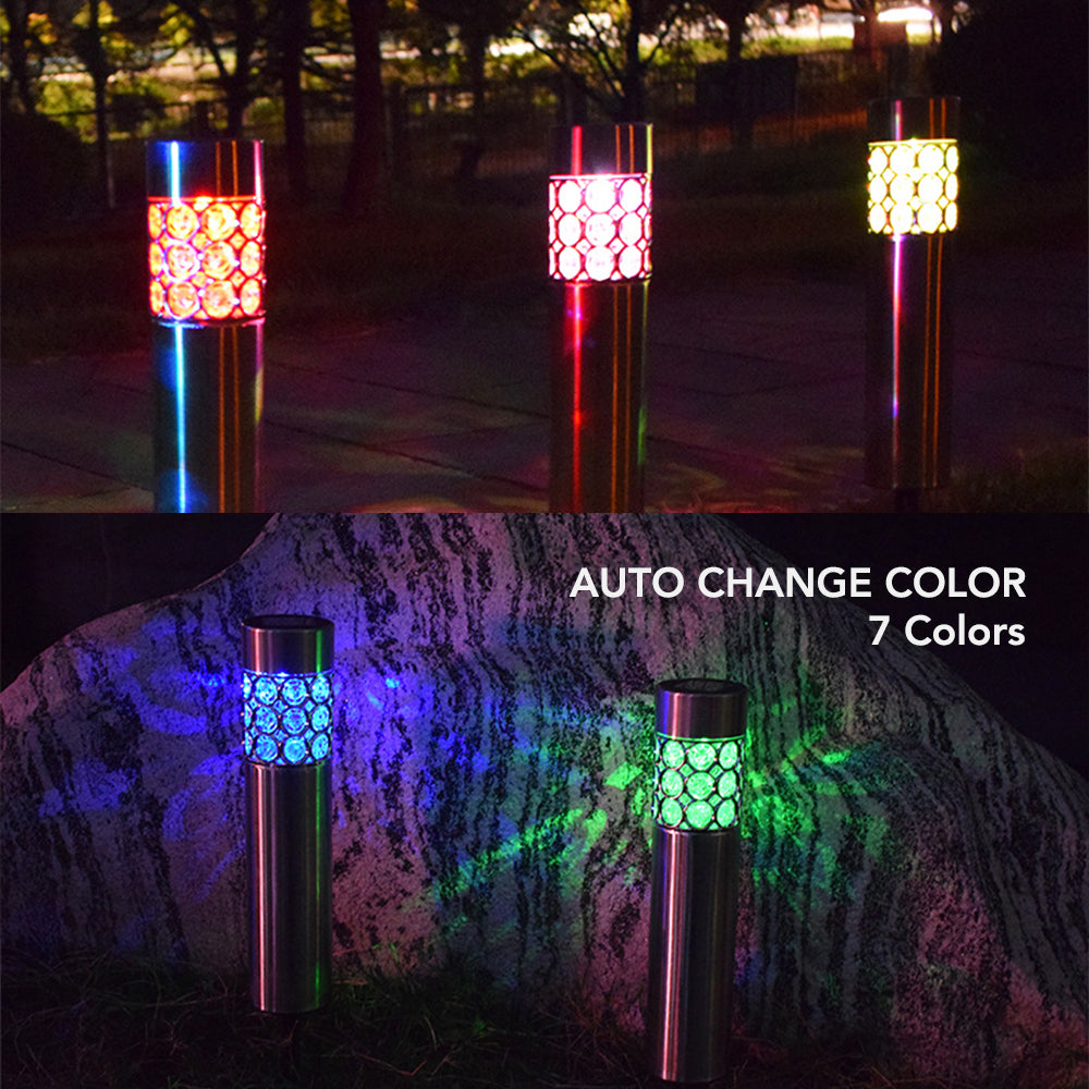 HYTX Solar LED Outdoor Decorative Pathway Lights, Waterproof, Color Changing Dusk to Dawn Auto On/Off (4 PC)