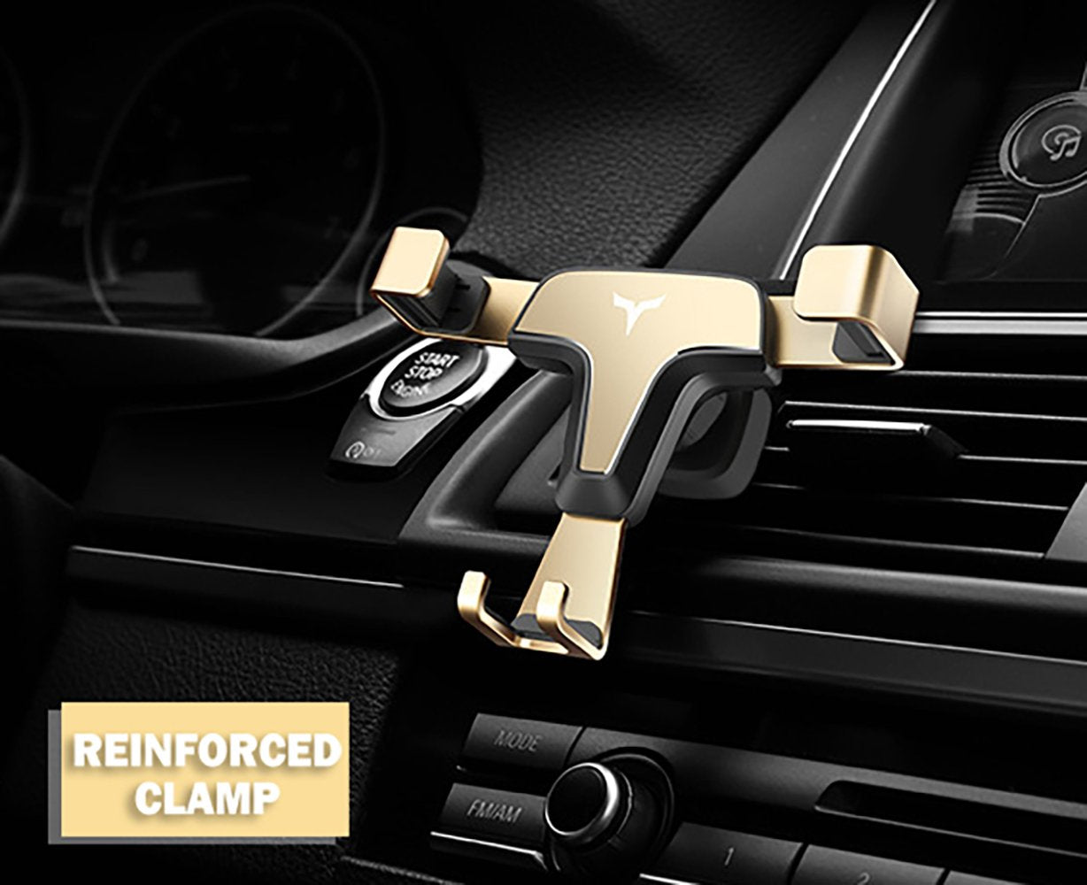 HYTX Universal Gravity Car Cell Phone Holder/Mount - Hands Free Auto Lock Air Vent Cradle Mobile Phone Holder, Compatible with iPhone 11 Pro Xs MAX X 8 7 6 Plus Samsung S9 S8 Note (Gold)