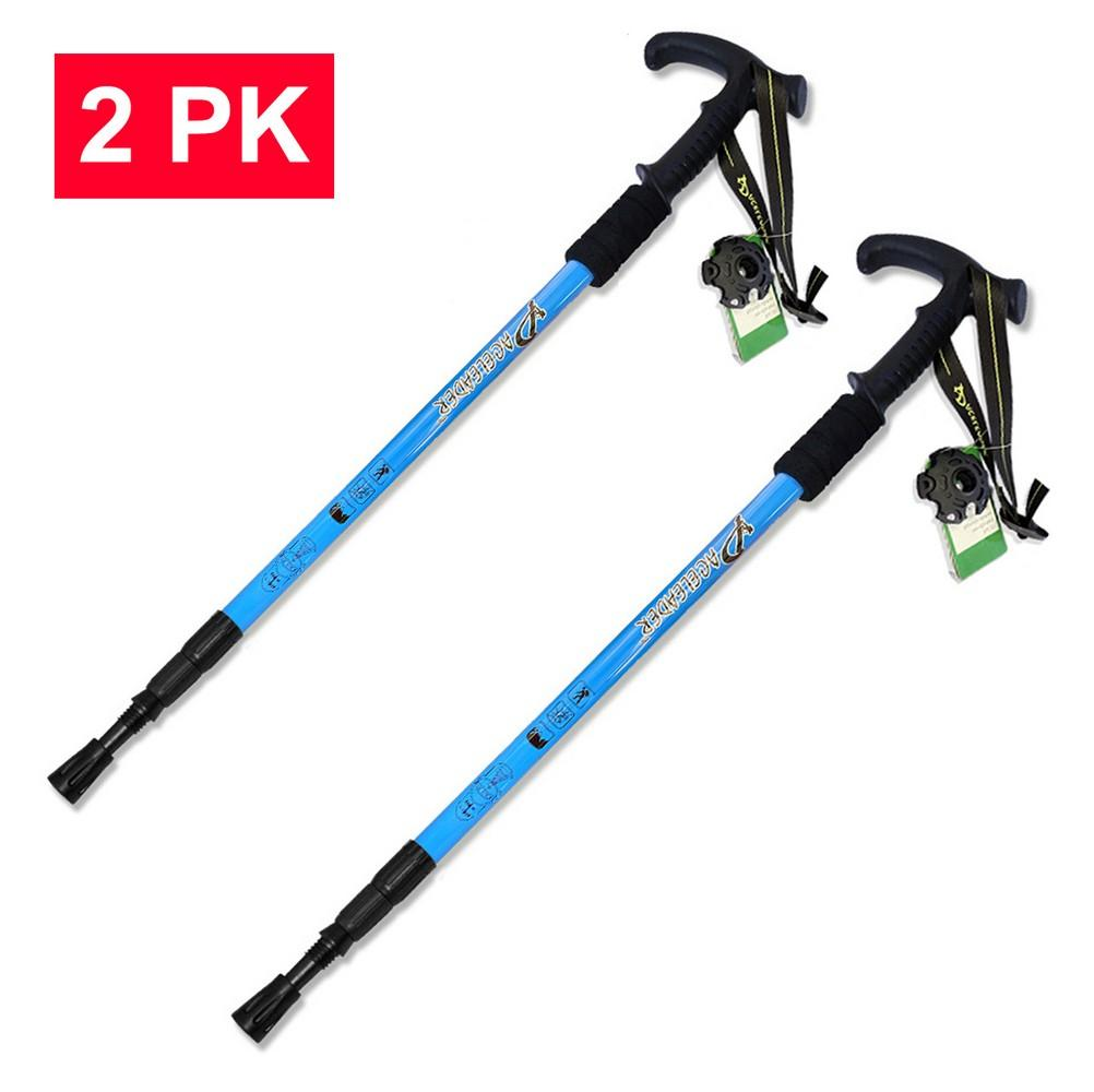 HYTX Adjustable Lightweight Aluminum Hiking Poles for Walking / Trekking / Hiking  [ 2-pc Pack ]  -  Shock - Absorbent, Ergonomical T-Shaped Grip, Strong Strap (Blue)