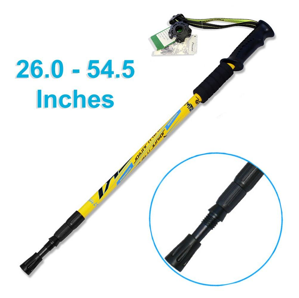 HYTX Adjustable Lightweight Aluminum Hiking Poles for Walking / Trekking / Hiking  [ 2-pc Pack ]  -  Shock - Absorbent, Ergonomical Grip, Strong Strap (Yellow)