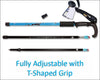 HYTX Adjustable Lightweight Aluminum Hiking Poles for Walking or Trekking  [ 2-pc Pack ]  -  Ergonomical Grip, Padded Strap  (Blue)