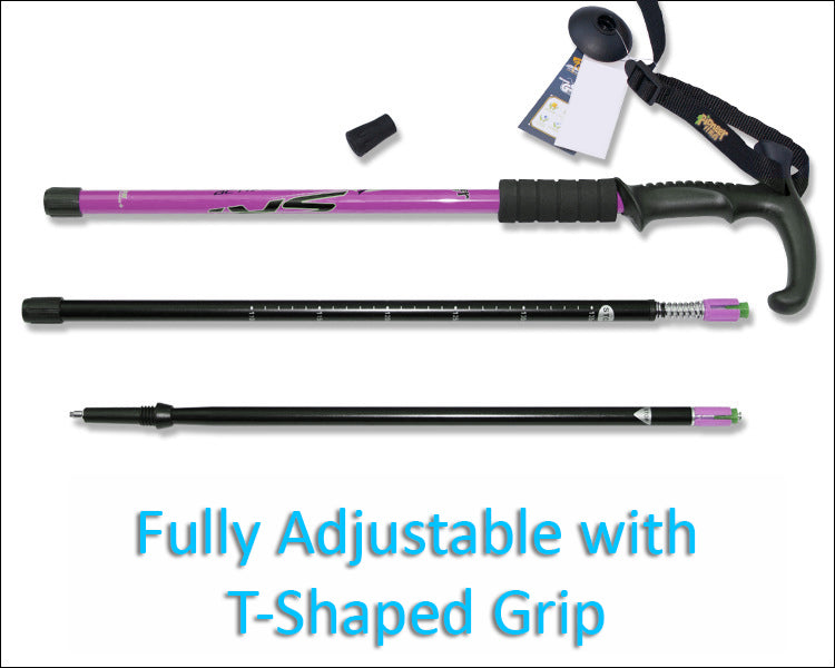 HYTX Adjustable Lightweight Aluminum Hiking Poles for Walking or Trekking  [ 2-pc Pack ]  -  Ergonomical Grip, Padded Strap  (Purple)