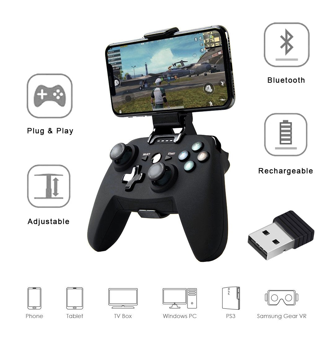 HYTX Wireless Portable Game Controller with Adapter-Bluetooth Gamepad Remote for PC, PS3, Android, iSO, TV Box, And VR Gaming Handle with Vibration Feedback and Mobile Phone Holder (Black)
