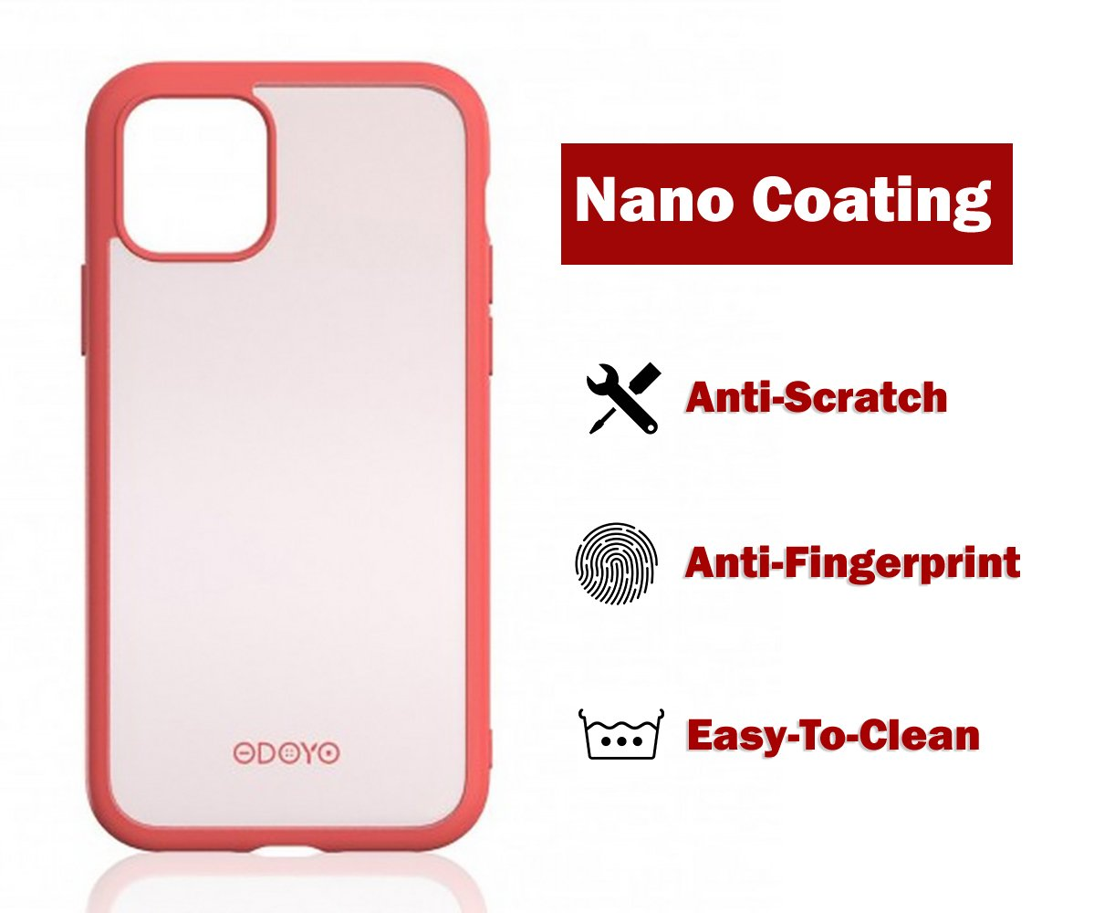 ODOYO iPhone 11 Pro Translucent Matte Case with Soft Edges - Shockproof, Slim Fit, Lightweight with Soft Silicone Bumper and Anti-Scratch Hard Protective Back for iPhone 11 Pro (2019) 5.8 Inch (Pink)