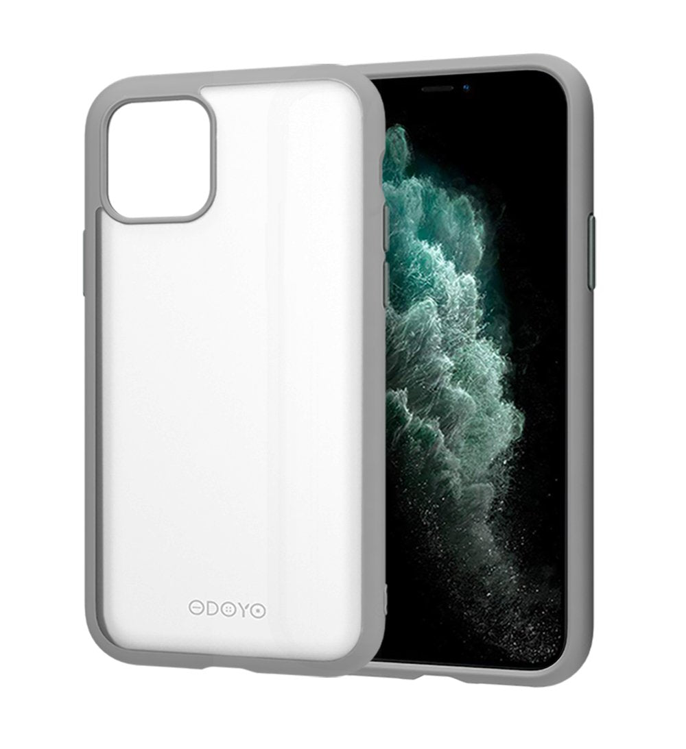 ODOYO iPhone 11 Translucent Matte Case with Soft Edges - Shockproof, Slim Fit, Lightweight with Soft Silicone Bumper and Anti-Scratch Hard Protective Back for iPhone 11 (2019) 6.1 Inch (Grey)
