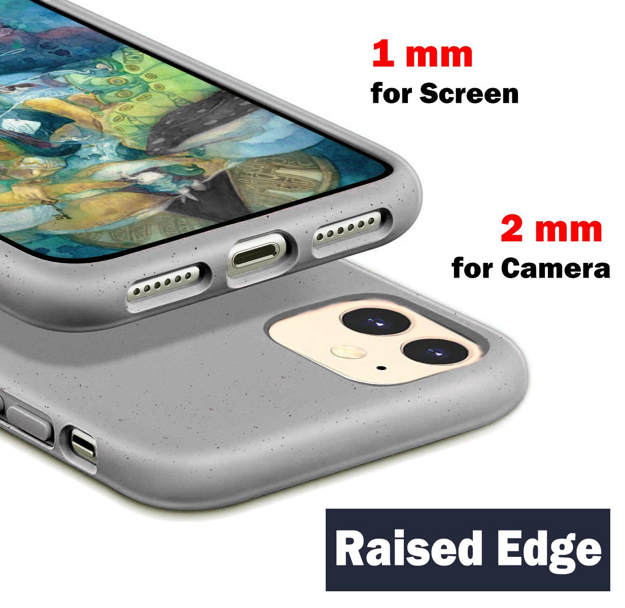 ODOYO iPhone 11 Soft Silicone Case, Shockproof, Slim Fit, Full Silicon Gel Rubber Cover with Raised Edge for Camera and Screen Protection - Compatible with Apple iPhone 11 6.1 Inch 2019 (Grey)