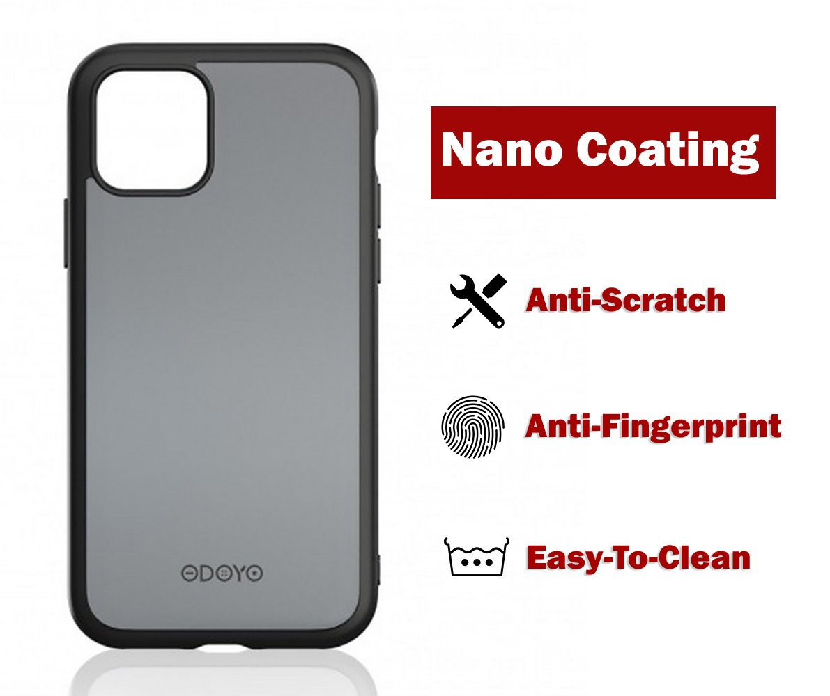 ODOYO iPhone 11 Pro Max Translucent Matte Case with Soft Edges-Shockproof,Slim Fit,Lightweight with Soft Silicone Bumper,Anti-Scratch Hard Protective Back for iPhone 11 Pro Max (2019) 6.5 Inch(Black)