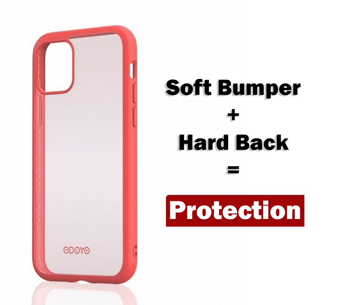 ODOYO iPhone 11 Pro Max Translucent Matte Case with Soft Edges-Shockproof,Slim Fit,Lightweight with Soft Silicone Bumper,Anti-Scratch Hard Protective Back for iPhone 11 Pro Max (2019) 6.5 Inch(Pink)