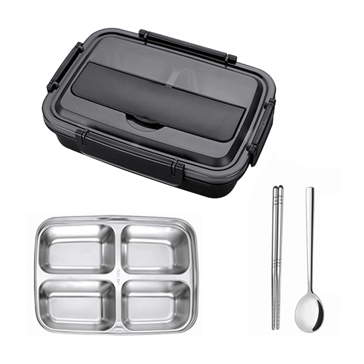 HYTX 4 Compartment Stainless Steel Bento Lunch Container with Spoon and Chopsticks