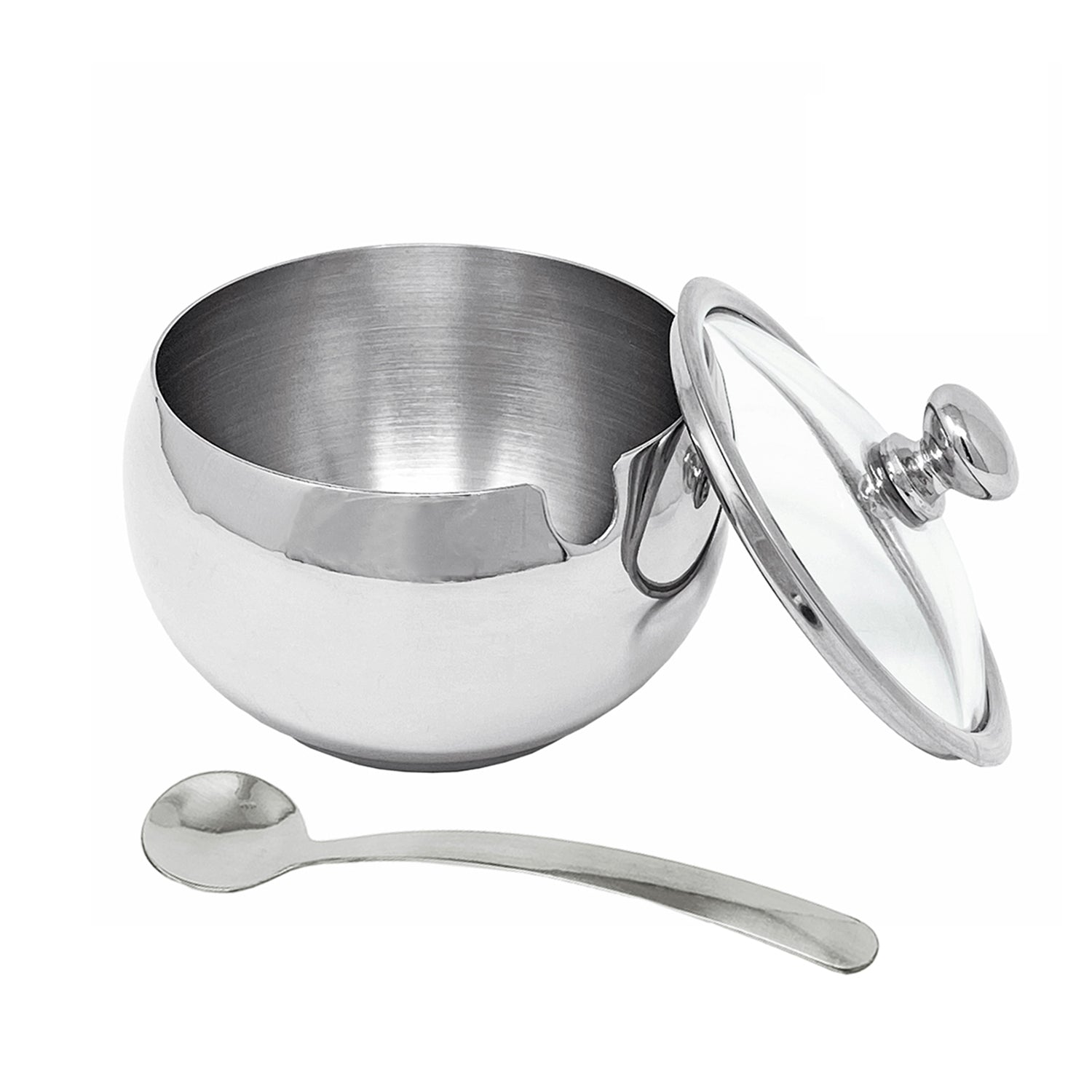 HYTX 12 Oz Stainless Steel Sugar Bowl with Glass Lid and Spoon for Home and Kitchen (Drum Shape)