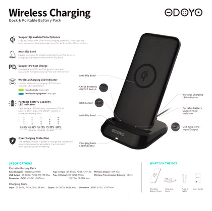 Wireless Charging Dock and Power Bank 10000mAH