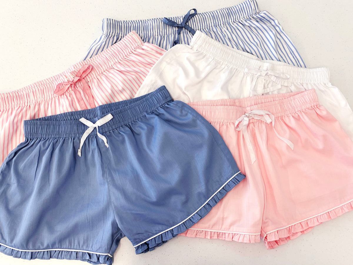 Ruffled Sleep Shorts - Blue Stripe