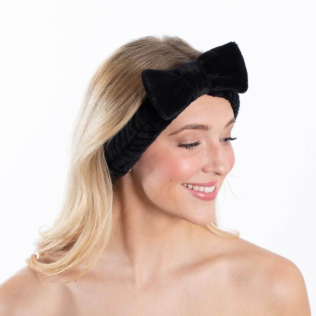 Plush Bow Spa Headband - Black