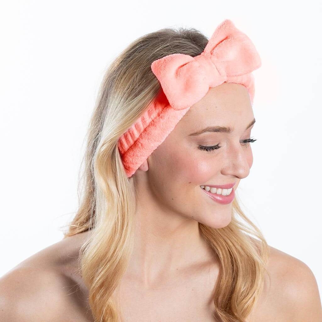 Plush Bow Spa Headband - Coral
