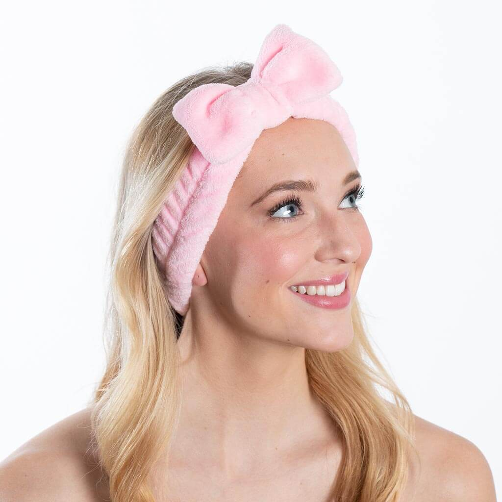 Plush Bow Spa Headband - Pink