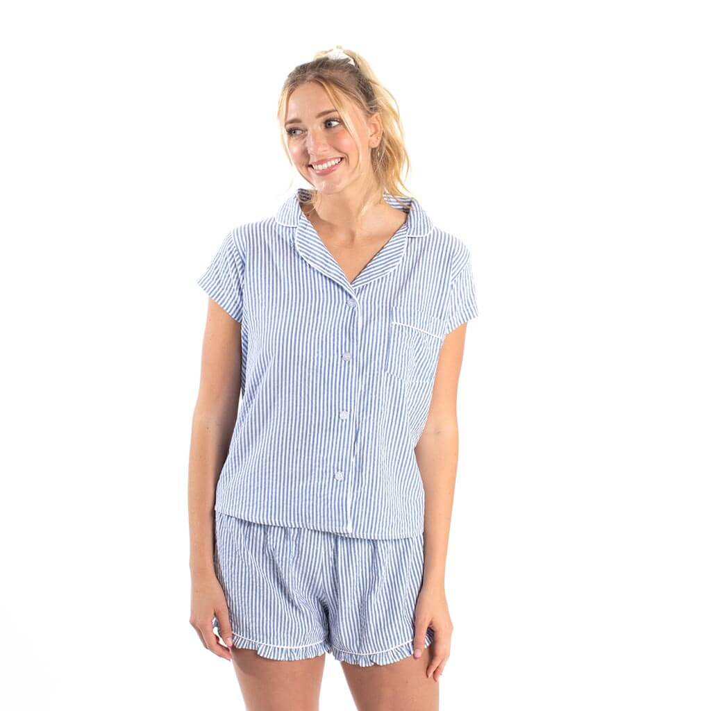Seersucker PJ Short Set - Blue