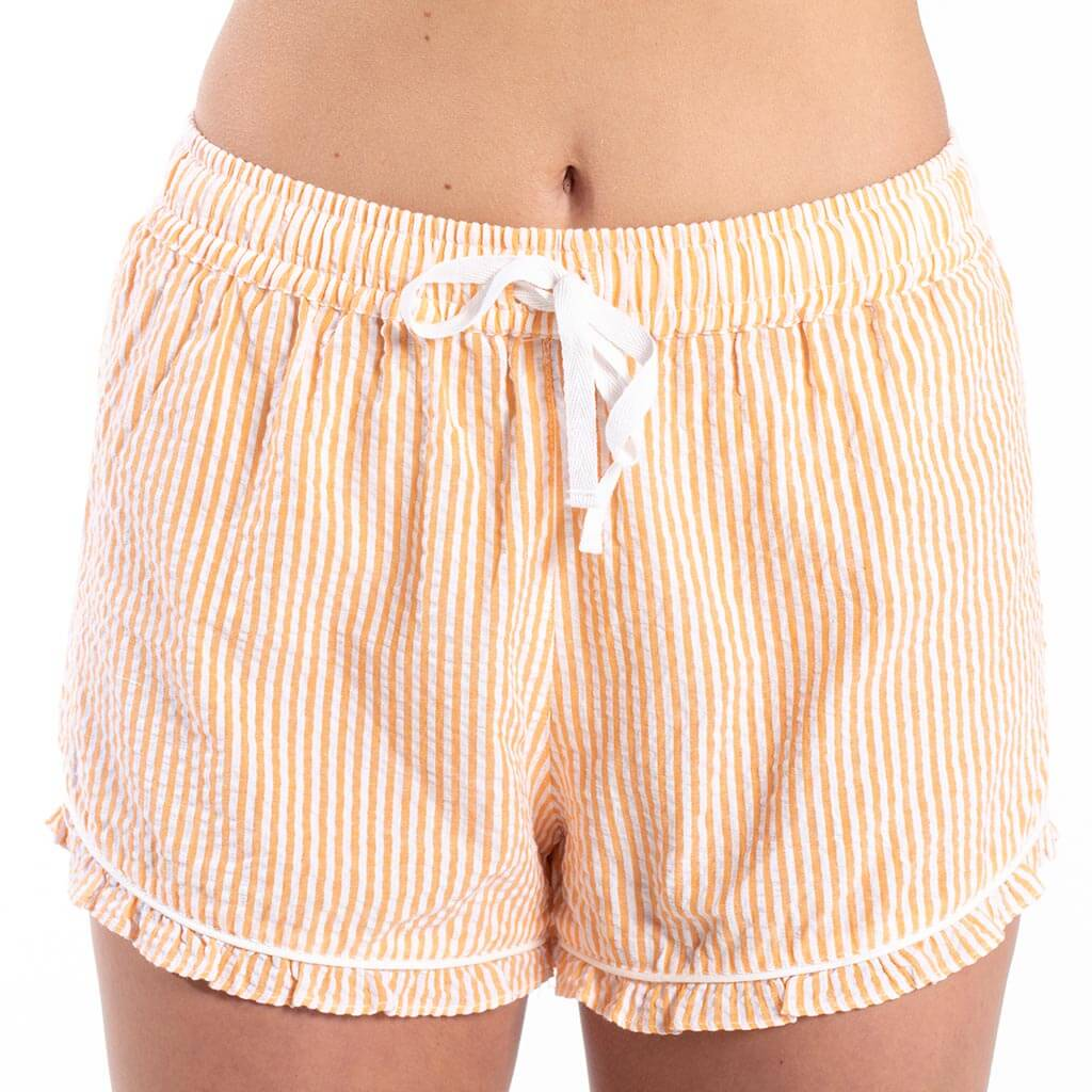 Seersucker Sleep Shorts - Orange