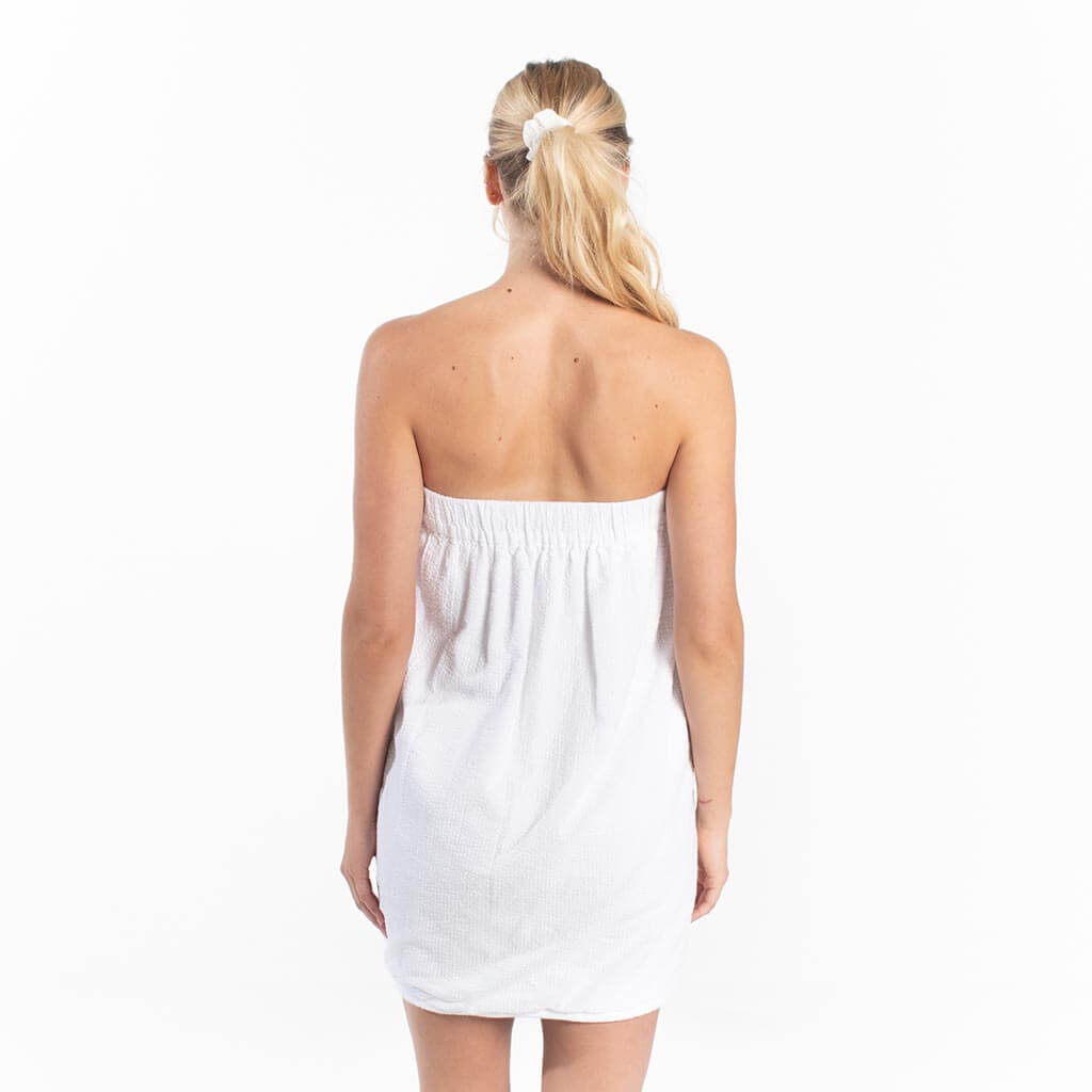 Seersucker Spa Wrap - White