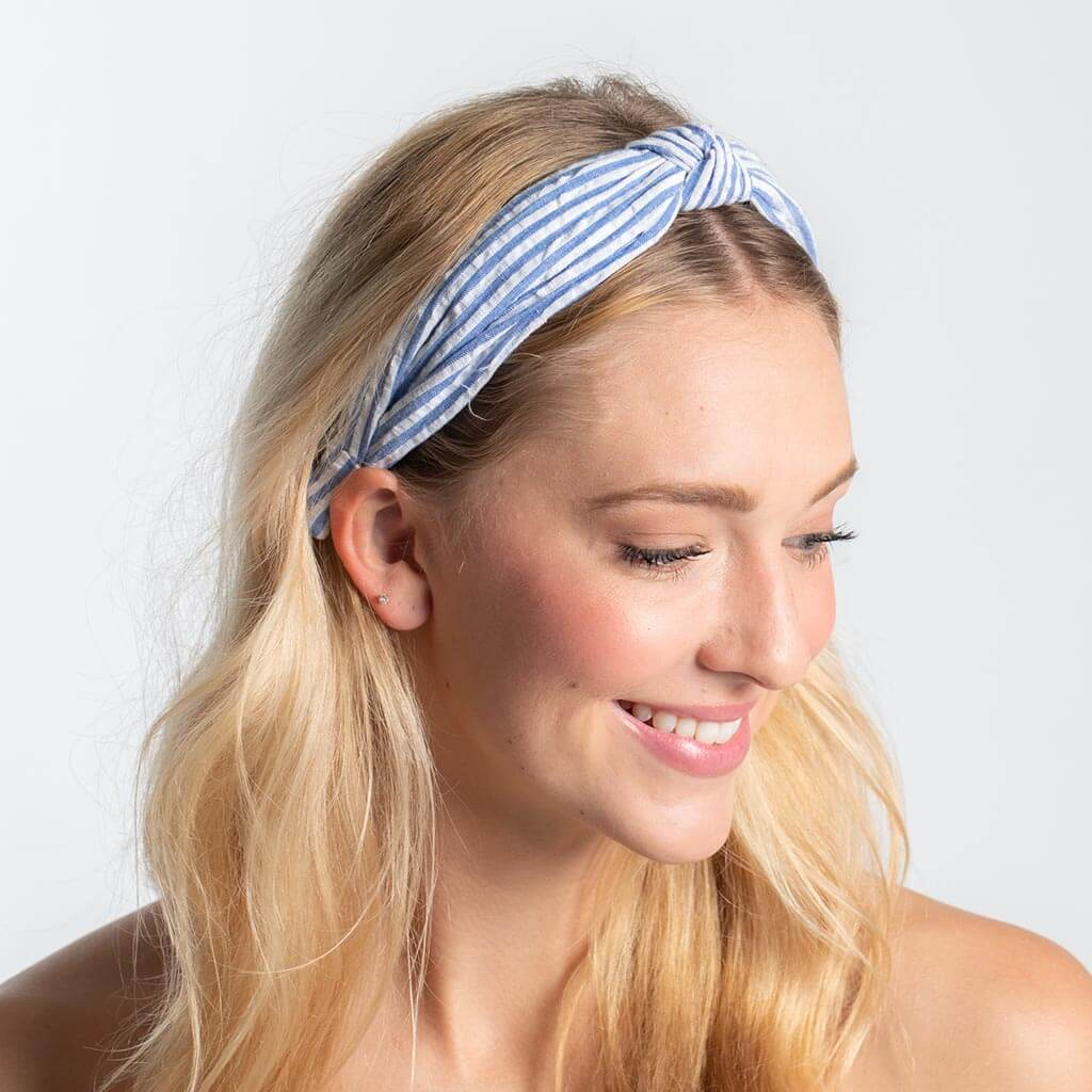 Seersucker Top Knot Headband - Blue