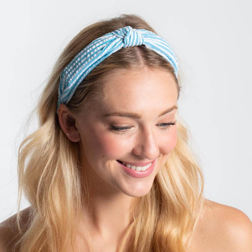 Seersucker Top Knot Headband - Turquoise