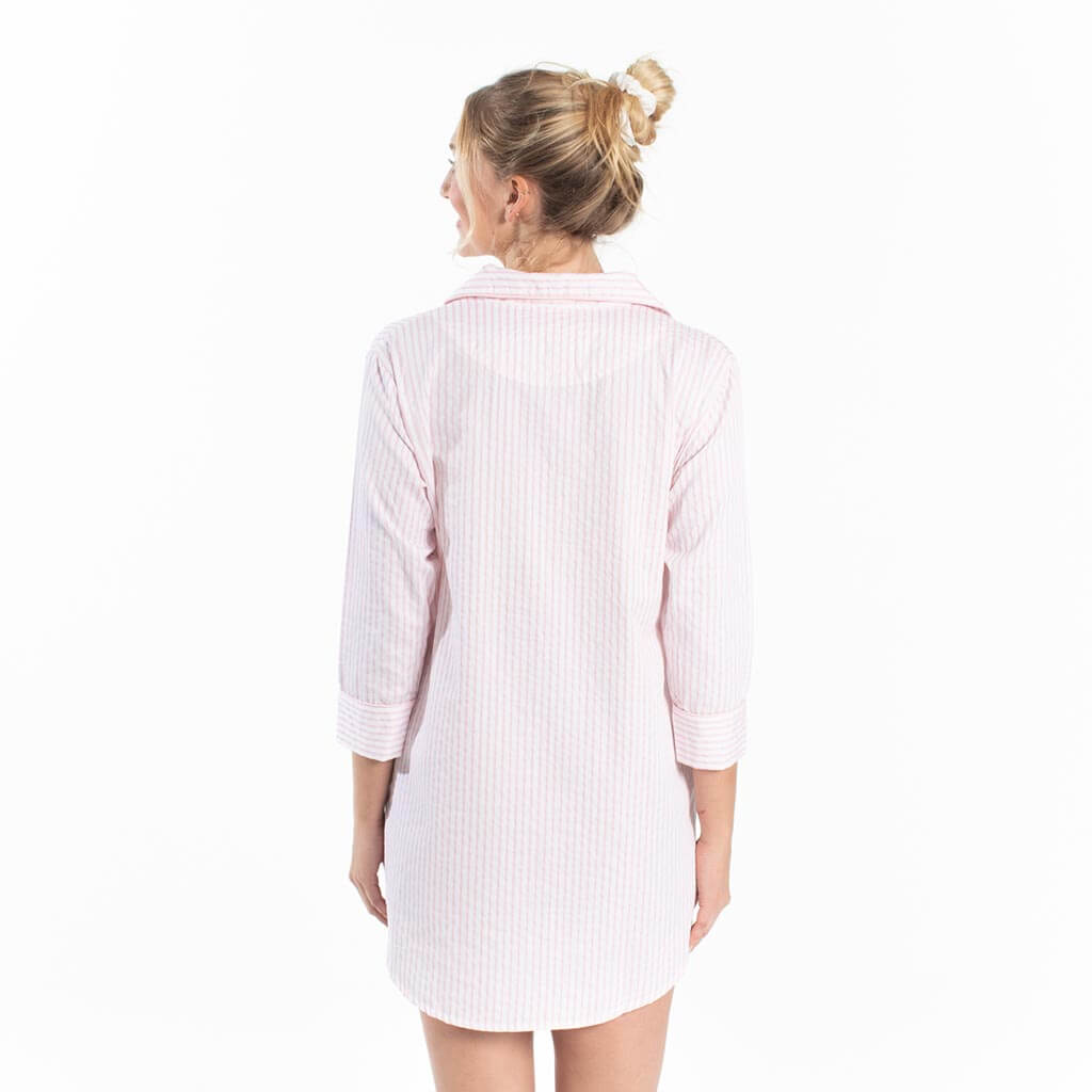 Button-Down Sleep Shirt - Pink Stripe