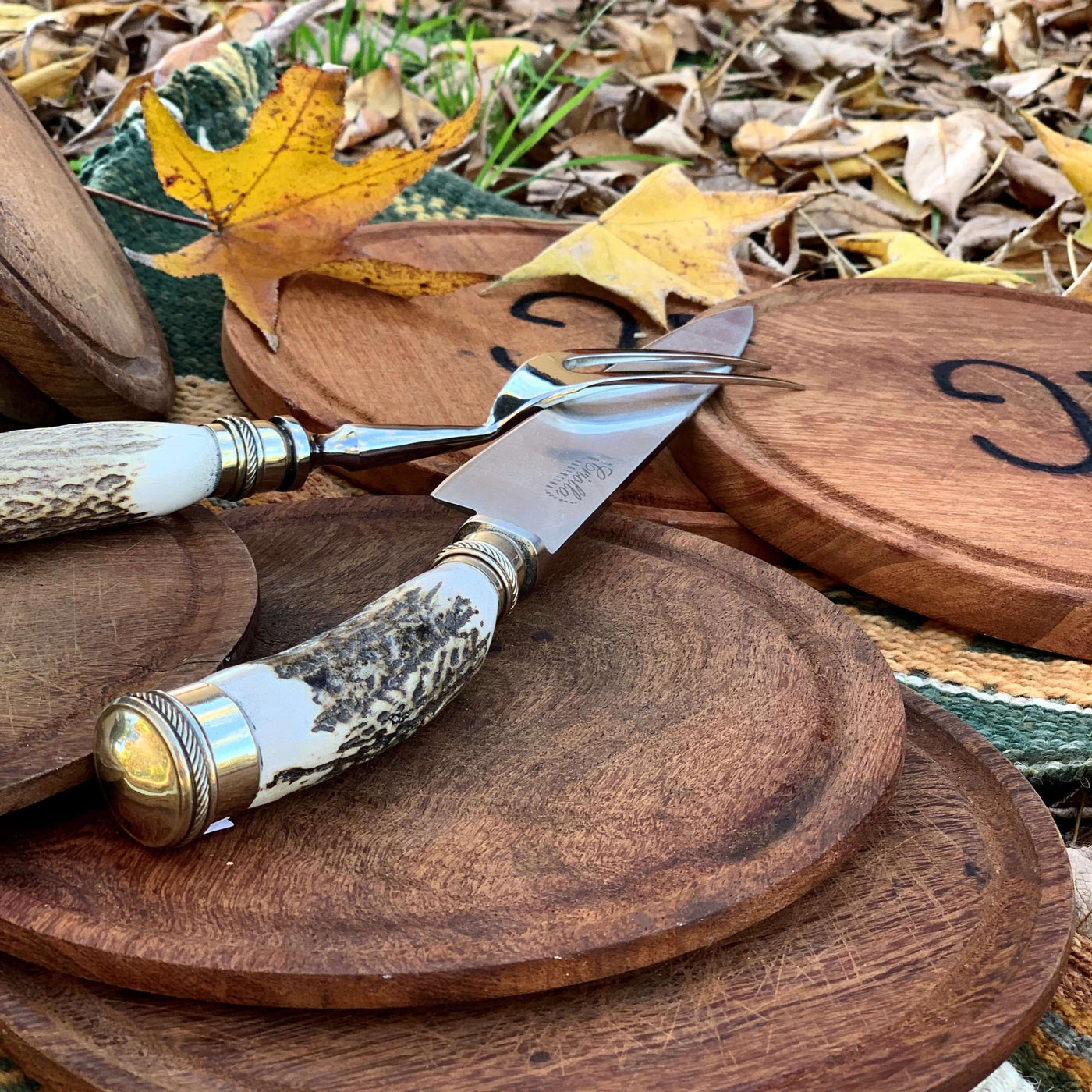 Handmade carving set stainless steel blades for steaks