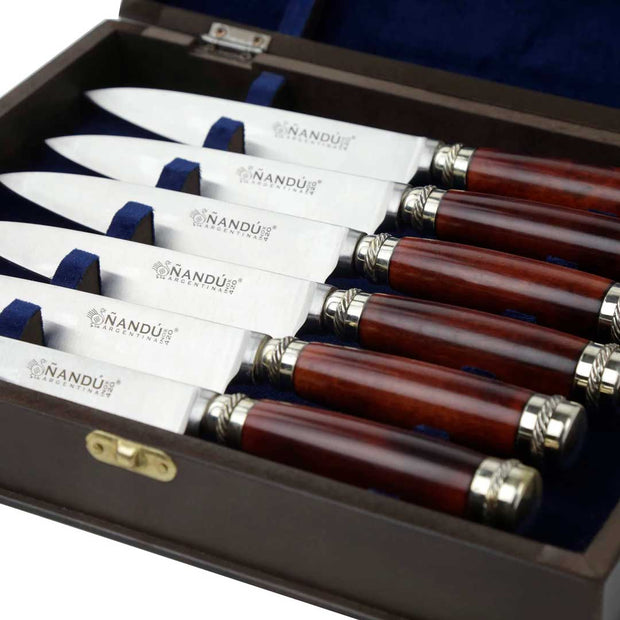 Set of six red quebracho wood dinner knives - Vakiano Artisans