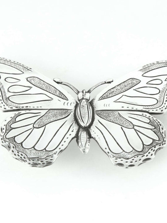 Silver plated belt buckles with butterflymotif.