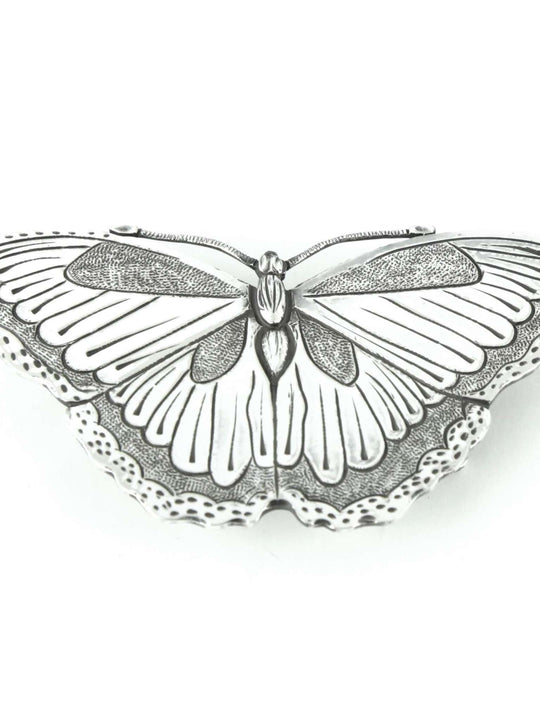 Silver plated beltbuckles with butterfly motif.
