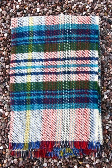 British Recycled Wool Blanket - Navy, Aqua and Green
