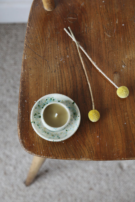 The End of the Avenue Glazed Ceramic Candle Holder with Beeswax