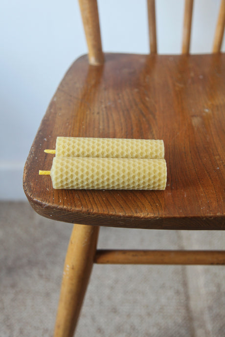Pair of Natural Beeswax 10cm Candles