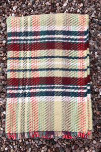 British Recycled Wool Blanket - Pistachio and Red