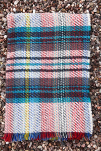 British Recycled Wool Blanket - Aqua, Biege, Red and Yellow