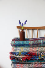 Load image into Gallery viewer, British Recycled Wool Blanket - Aqua, Biege, Red and Yellow