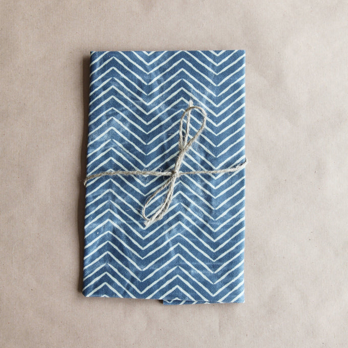 Reusable Cotton Beeswax Wrap - Denim Zigzag Lines